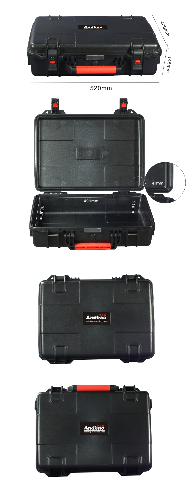 ABS Hard Plastic Carrying Case with foam insert, size:490*333*132mm