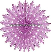 Lilac Purple snowflake shape Honeycomb Paper Fans for party decoration