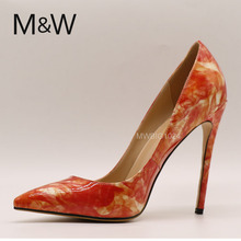 latest fashion printing big size women high heel pump shoes