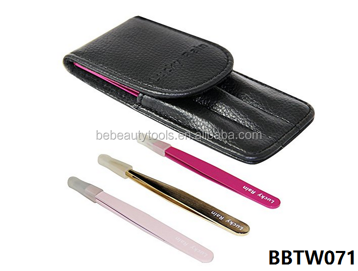 Eyebrows Tweezers Set Kits Professional Stainless Slant Steel Pointed Ingrown Hair Tweezer with Mini Leather Case