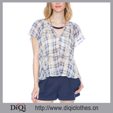 2017 Women Blouse Summer Wholesale Blue Plaid Complete Sheer Chiffon Short Sleeve V Neck Women New Fashion Cutting Blouse