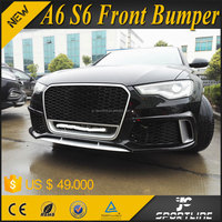 RS6 Style PP Front Auto Bumper for AUDI A6 S6 with Chrome Quattro Grill