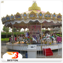 16 seats fiberglass kids ride coin operated indoor electric amusement ride horse merry go round small carousel for sale