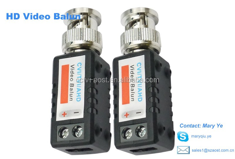 AOST HD single channel passive HD video balun Transmitter Support 720P/1080P,AHD/CVI/TVI Camera 450