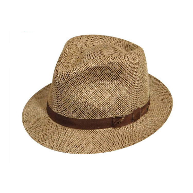 Fashion outdoor peasant work sun hats large brim Malaysia straw hat with Brown strap