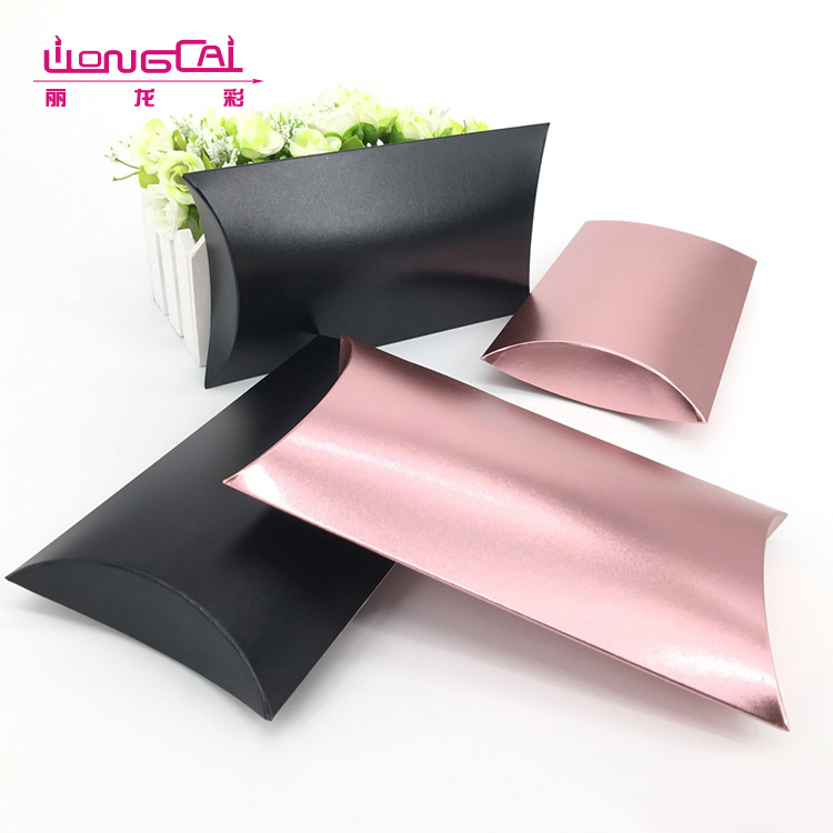 Custom made CMYK printing glossy lamination colored paper pillow box hair extensions