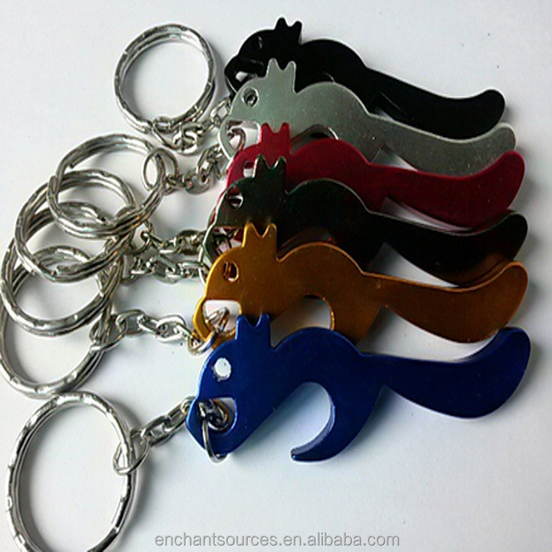 Fashion Wholesale Animal Aluminum Alloy Squirrel Shape Bottle Opener With Keychain