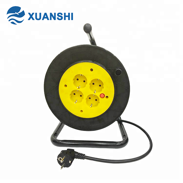 European 3 pin plastic extension electrical cable reel drum