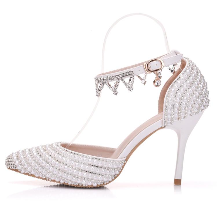 Custom Full Imitation Pearls High Heels Sandals Matching Handbag Sets for Wedding