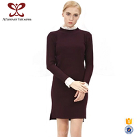 New Model Girl Dress Wine Red Long Lace Sleeve Winter Sweater Dress