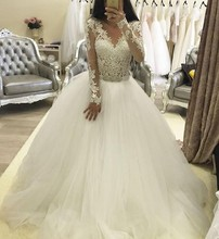 NE110 Modest Ball Gown Long Sleeves Lace Wedding Dresses Sexy V Neck Custom Made White Princess Bride Bridal Gowns