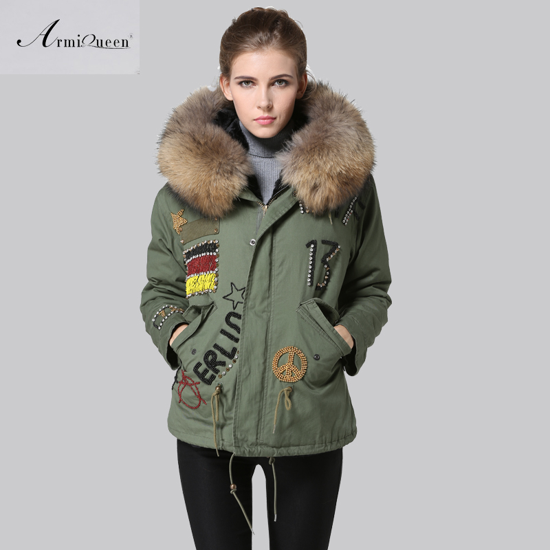 2016 Women Short Down Fur Parka,Germany Flag Natural Fur Trim Hoodies Parkra