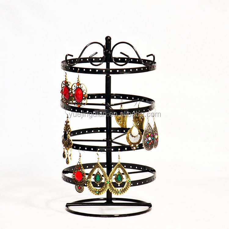 four layers rotating jewelry display rack round shape accessories earrings stud storage hanging shelf