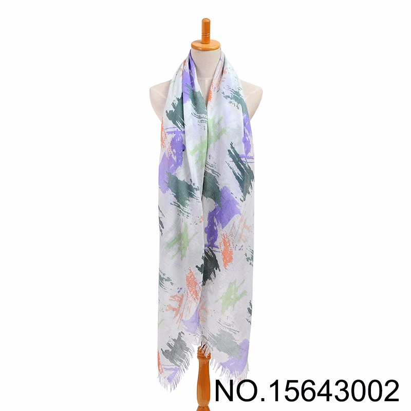 Purple Green Viscose Lacquer Painting Scarf