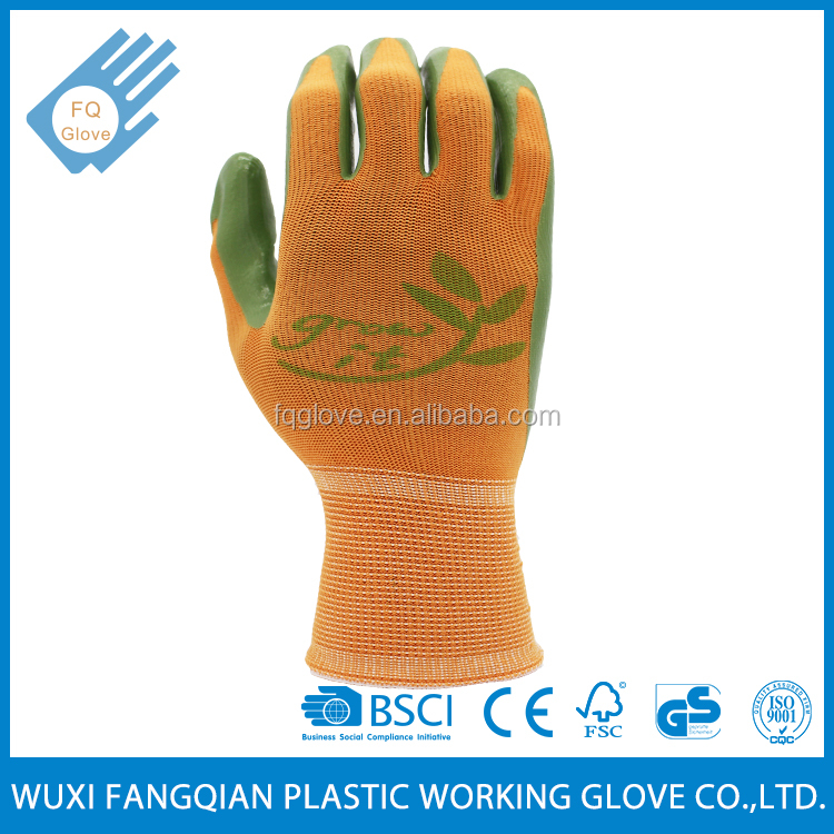 Protective Green Nitrile Coating On Palm Garden Glove