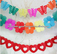 Hawaiian Summer Party mini Paper Flower Garlands Hanging Garland 3m Paper Garland Banner Decorations Paper Chains