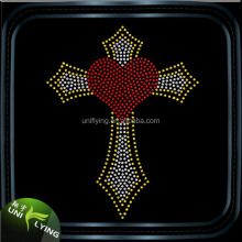 Hot Selling in USA Faith Cross Hot Fix Rhinestone Design