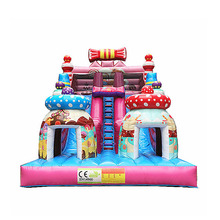 Manufacture funny inflatable candy bouncy slide for sale outdoor inflatable bouncer games