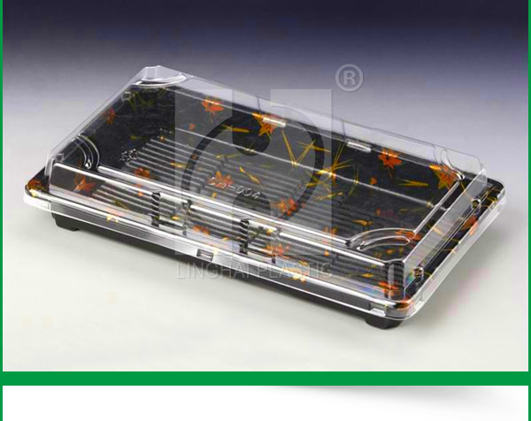PS Square Disposable Plastic Sushi Container With Lid /Plastic Lid Storage Plastic Food Container