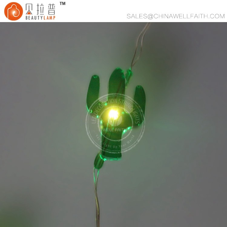 Warm white green cacuts LED fairy copper wire lights