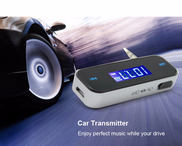 GXYKIT wireless car radio FM Transmitter F1 3.5mm jack smartphone music fm transmitter
