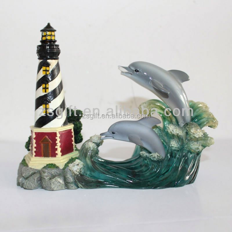 Manufactory supply Elegant and chic polyresin lighthouse christmas handicrafts