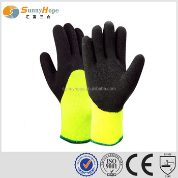 sunny hope 7g nappy double liner 3/4 coated foam nitrile winter glove