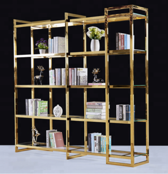 Stainless steel bookcase for study room with glass laminate