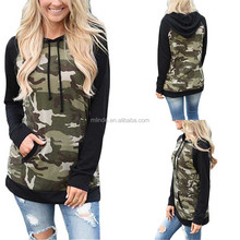 Spring Autumn Workout Sport Long Sleeve Sweatshirts Pullover Camo Tops Kangaroo Pocket Custom Two Tone Hoodies