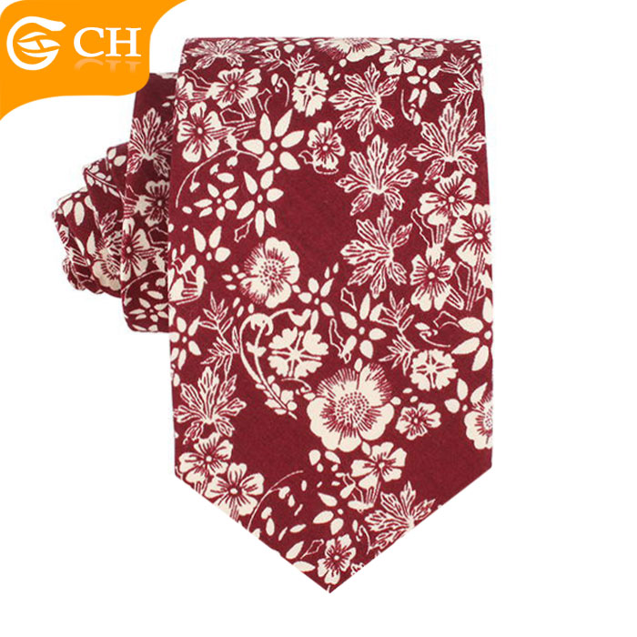 Fashion Cotton Fabric Casual Men Necktie Printed Floral for Custom