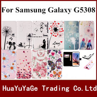 phone cases coloured drawing PU Flip cover Emboss color print Flower case For Samsung Galaxy Grand prime G530 G5308