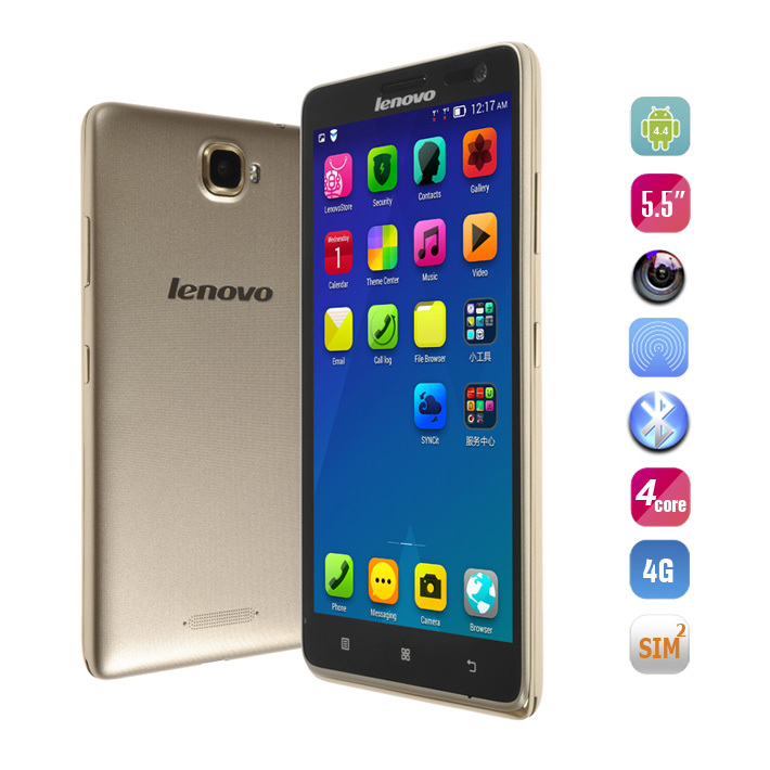 Gold Color 4G LTE Phone Lenovo S856 smartphone with Snapdragon 400 <strong>Quad</strong> Core 5.5 inch <strong>HD</strong> 1280x720 1GB RAM 8GB ROM 8.0MP