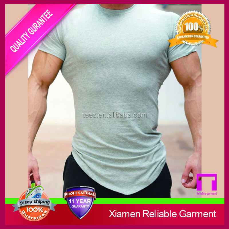 Custom blank design gym tight fit t shirt for men from clothing manufacturers
