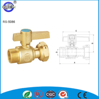 China made 1 way FM brass ball valve with union and brass handle dn15