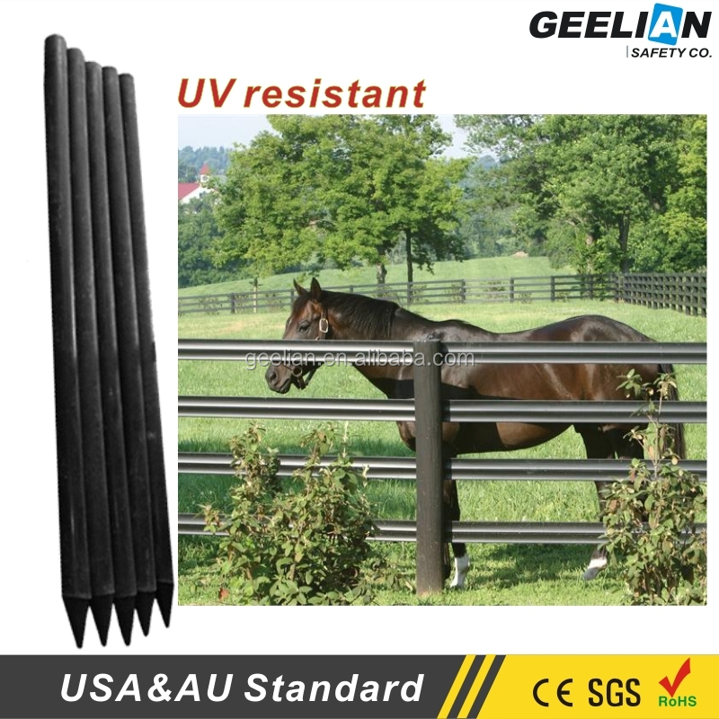 round/square/bevelled 3 rail horse fence /plastic post/metal fence posts for sale