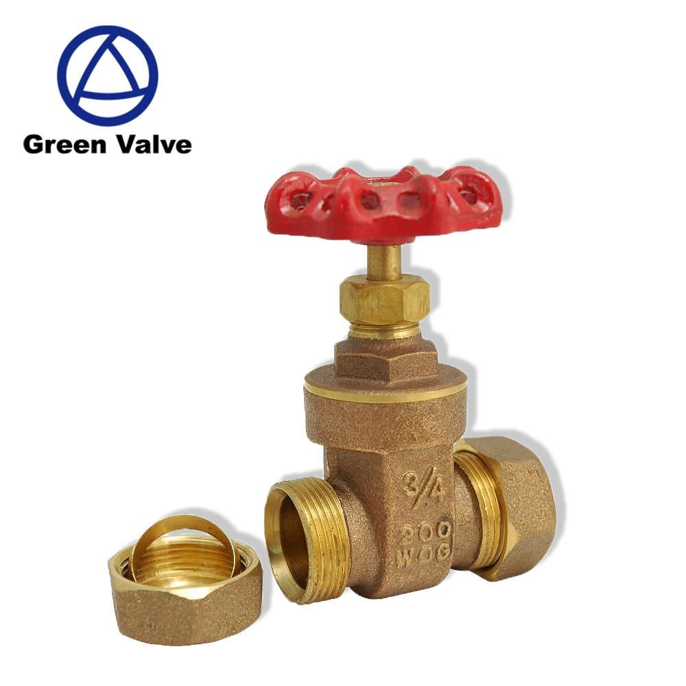 "Green-GutenTop GT2196 3/4"" Compression Brass Gate Valve Non-rising Stem"