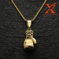 Wholesale Newest Stainless Steel Big Gold Boxing Gloves Pendant Men Jewelry