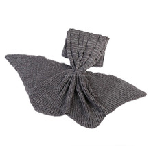 Sales grey women charming blanket hand crochet mermaid tail blankets with large tail