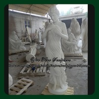 Natural Stone Bird On Her Hand Marble Female Statue