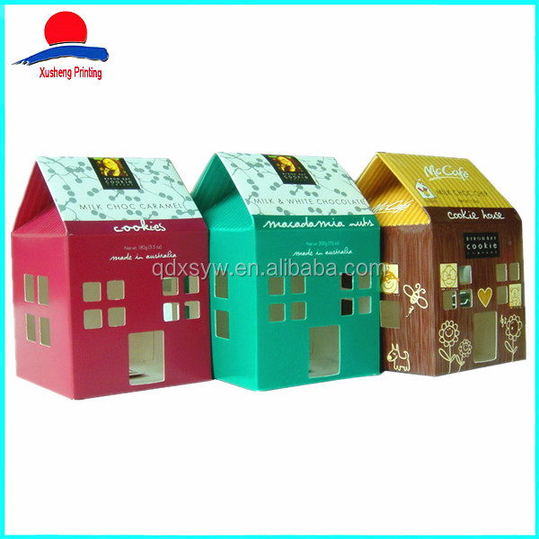 Customized Design House Shaped Biscuit Cookie Box Packaging