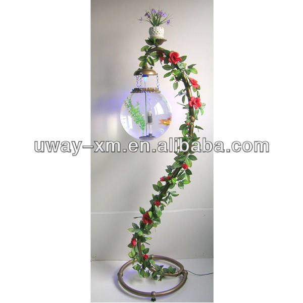 UW-PAFT-028 Garden decoration 14L floor lamp style aquarium tank with flower wisteria decoration