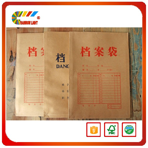 High quality cheap price waterproof school office file cover kraft paper file cover