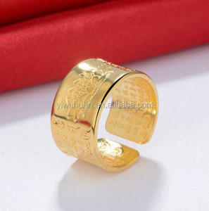 YFY1096 Yiwu Huilin Jewelry Retro Thai silver gold plated beautiful mans Lotus open ring