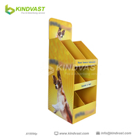 Cardboard Floor Pet Foods Retail Toy Display Stand For Dogs