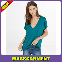 Hot sexy girls soft v-neck short sleeve t shirts cotton /spandex blend stretch t shirts