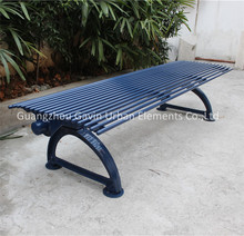 Backless cast iron and tubular park bench outdoor steel bench