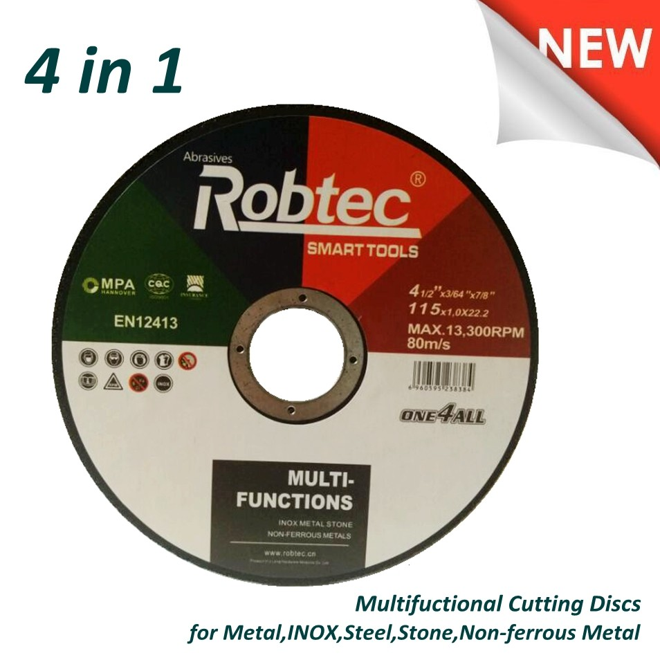 Powerful New Cutting Wheel 4 in 1 For Steel/METAL/INOX/STONE/NON-FERROUS METAL, Resin Bonded