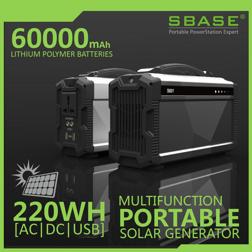 SBASE 220Wh LiPOLYMER battery portable solar power generator Pure sinewave AC inverter,2xDC12V,2xUSB output