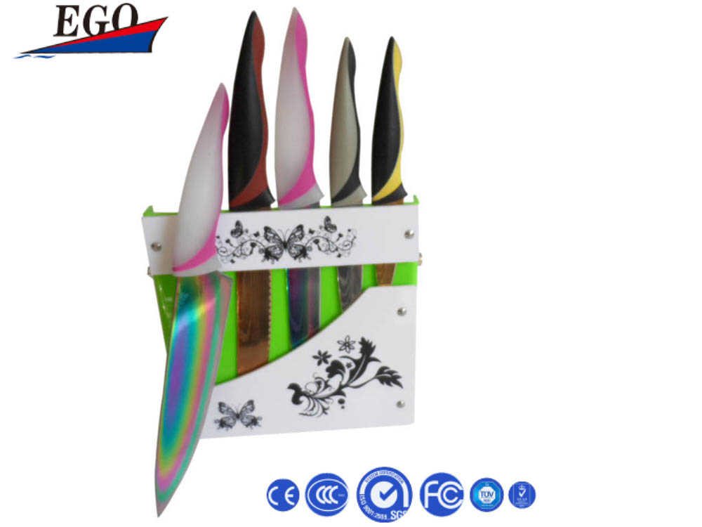 Stainless steel colorful knife block set