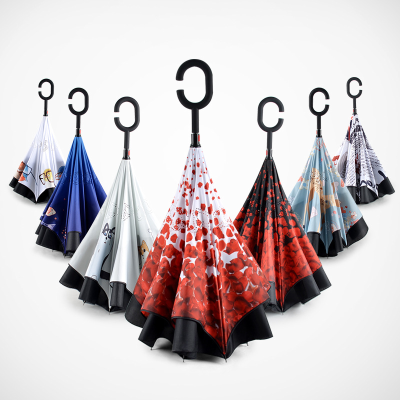 Stand up Double Layer Reverse Small Inverted Magicbrella Umbrella with <strong>C</strong> handle for Wholesale